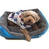 yemsy style ふかふか もこもこ ペットベッド 犬 猫 洗える スクエア ベッド マット 小型犬 中型犬 収納袋付き 選べる カラー (03: ブルー M)