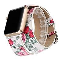 【WAfeel】Apple Watch アップルウォッチ通用バンド ウォッチ交換ベルト 本革レザー使用 全8色 二重巻き型 男女兼用 (42mm, 白い花)