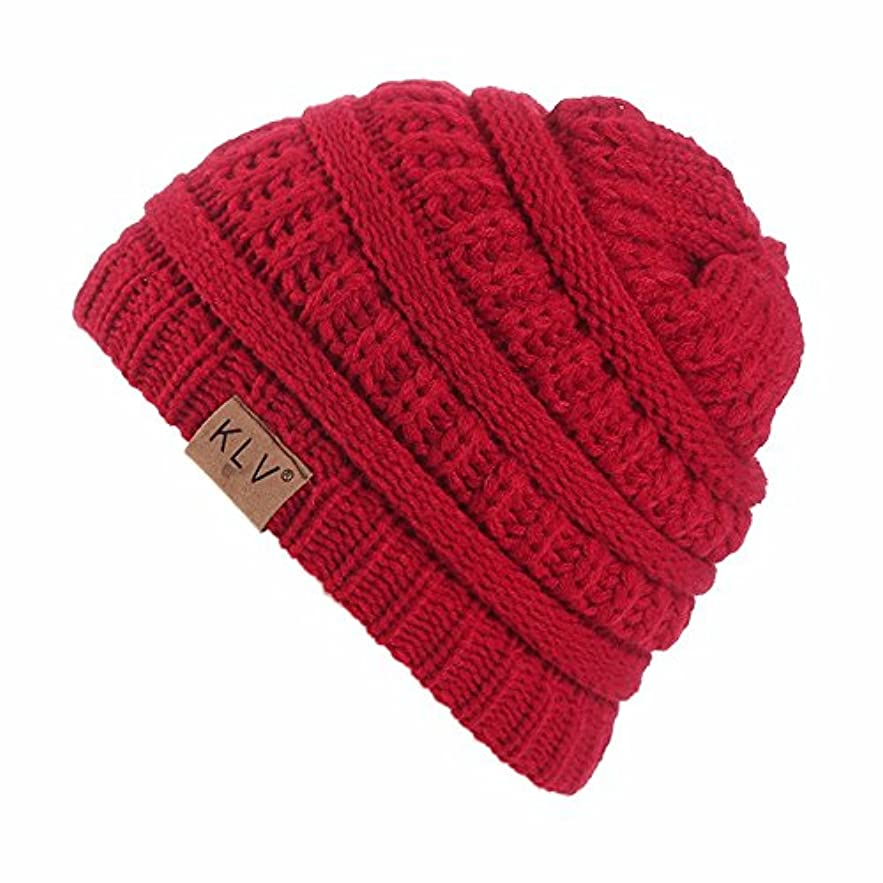 Racazing クリスマス Hat 選べる6 色 編み物 ニット帽 子供用 通気性のある 男女兼用 防風防寒对策 ニット帽 暖かい 軽量 屋外 クリスマス Unisex Cap (ワイン)