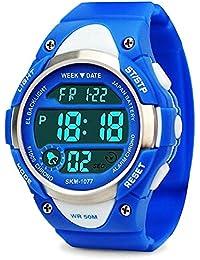 子供腕時計 防水 デジタル腕時計 ボーイズ 子供用 ストップウオッチ アラーム LEDバックライト 曜日/日付表示 多機能スポーツ腕時計 男の子 アウトドア 人気 デジタル時計 キッズ 腕時計 ZAYIYA