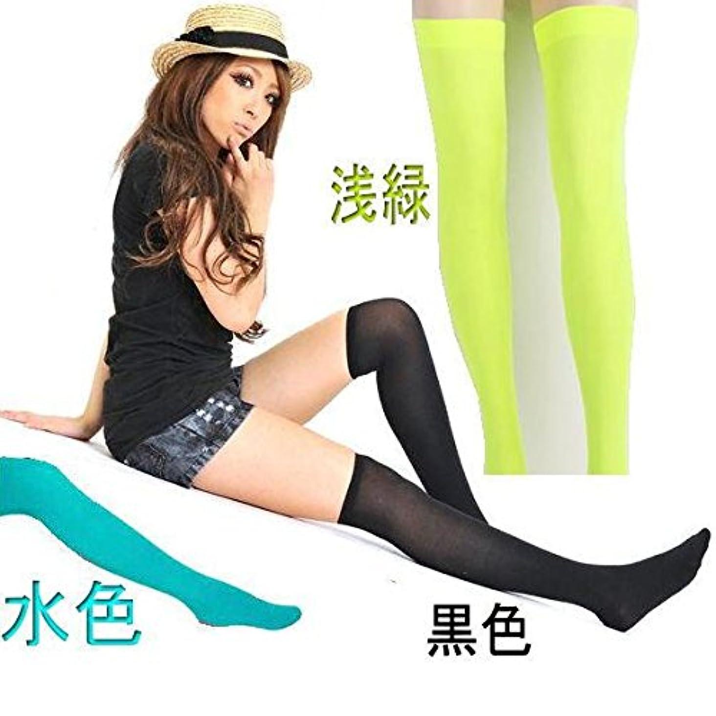 生じる用量なに2色カラー美脚ソックス 極上美脚ニーハイソックス 美脚効果大 足元オシャレ (水色)