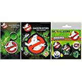 GHOSTBUSTERS RUBBER KEYCHAIN + STICKER + 5 BADGE PACK ( ゴーストバスターズ ラバー キーチェーン + ステッカー + 5ヶ入り バッジ パック ) 3点セット