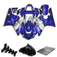 9FastMoto yamaha ヤマハ 2000 2001 YZF-1000 R1 00 01 YZF 1000 R1 用フェアリング オートバイフェアリングキット ABS 射出成形セット スポーツバイク カウル パネル (ブルー & ホワイト) Y0002