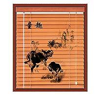 WENZHE すだれ 竹屏幕 竹スクリーン ウッドブラインド 防水 無垢材 印刷 陰影 ホーム ウィンドウ ハンギングオーナメント、 3つのスタイル、 23サイズ (色 : B, サイズ さいず : 100x160cm)