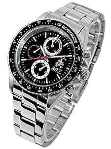 Disney ディズニー ミッキー 生誕80周年記念 回転 ベゼル 腕時計 ブラック 黒 スワロフスキー 銀色 青 [並行輸入品]
