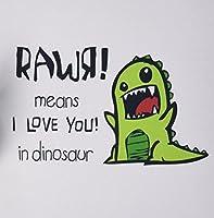 3dRose LLC 8 x 8 x 0.25 Inches Mouse Pad, Rawr Means I Love You in Dinosaur Cute Dinosaur (mp_157446_1) [並行輸入品]