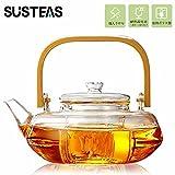 SUSTEAS ティーポット 耐熱ガラス 直火対応 ティーサーバー 茶漉し付き 急須 800mL おしゃれ ティポット シンプル 透明 茶こし ふた付き お茶 紅茶ポット 800ml
