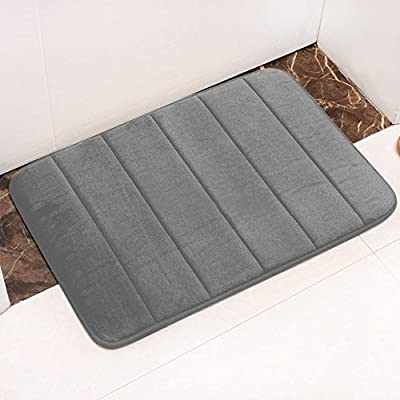Bath Mat Gray Doormat 40x60 cm Bath Mat Gray Bath Mat Anti-Slip Shower Mat Water-absorbent Machine Washable Strong Absorbent