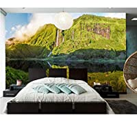 Mingld壁画、山と湖の自然風景の防水壁紙、ホテルのリビングルームのソファテレビの壁の寝室3Dの壁紙-350X250Cm