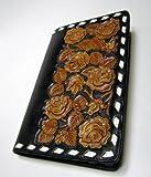 (特別限定品) ハンドメイド ウェスタン 牛革 マルチケース アリゾナ 伝統工芸 革職人 ジョージ・ミドルマン作 茶色の薔薇