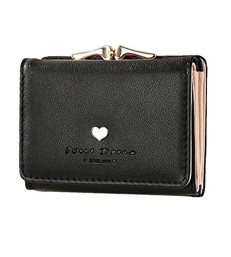 dba37eb89bed S-BBG コンパクト 可愛い heart 財布 レディース 三つ折り 小銭入れあり ミニ財布 がま口 8色選択可