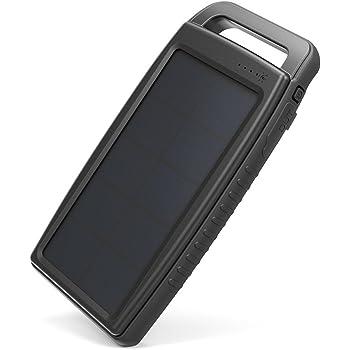 ソーラーモバイルバッテリー RAVPower 15000mAh ソーラーチャージャー 太陽光で充電 ソーラーパネル USB 2ポート LEDライト付 モバイルバッテリー 旅行 野外 アウトドア 防災 非常用 RP-PB130