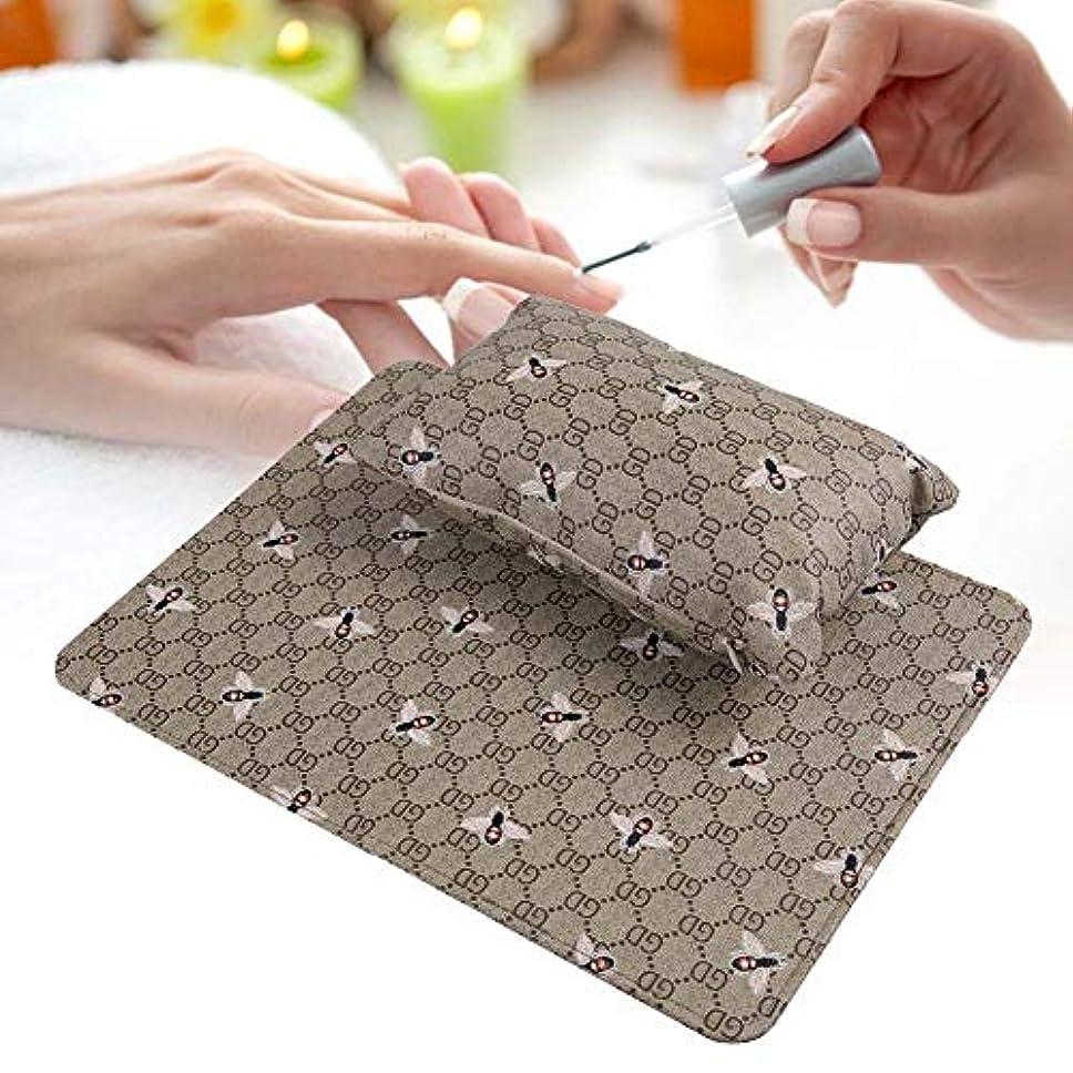 導出主コレクション折りたたみ マニキュアテーブル付き 洗える ハンドレスト枕 ソフト PUレザー/取り外し可能 (オリーブグリーン)