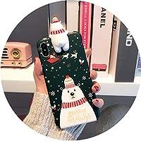 三次元趴趴クリスマスヘラジカxsマックスアップルX携帯電話シェルfor iPhone8plus / 7雪だるま漫画XR / 6,趴趴グリーンホッキョクグマ7p / 8plus