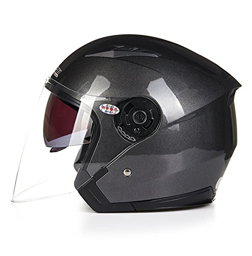 shoppaopaoバイクヘルメット ジェットヘルメット JIEKAI JK-512 超人気 Bike Helmet メンズ レディース 10色選択可 グレー(透明シールド)M