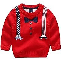 [スゴフィ]SGFY セーター ボーイズ ガールズ ベビー キッズ コットン ニット トップス 男の子 子供服 女の子 クルーネック 蝶ネクタイ柄 2色