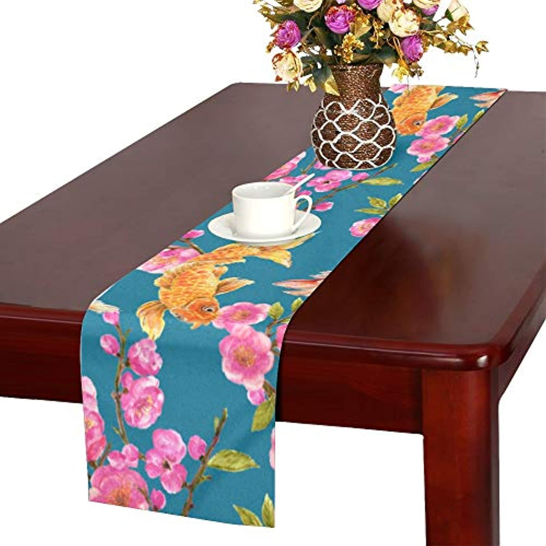 GGSXD テーブルランナー 美しい 桃の花 クロス 食卓カバー 麻綿製 欧米 おしゃれ 16 Inch X 72 Inch (40cm X 182cm) キッチン ダイニング ホーム デコレーション モダン リビング 洗える