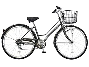 CHACLE(チャクル) 空気入れ不要! ノーパンク自転車 シティサイクル 27インチ [外装6段変速、Wアーチ型フレーム、LEDオートライト] ガンメタ
