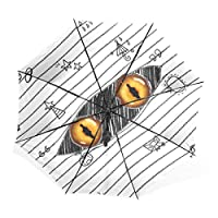 マキク(MAKIKU) 折り畳み傘 レディース 晴雨兼用 手開き 日傘 軽量 uvカット かわいい 怪獣 目 瞳 ホワイト 紫外線対策 頑丈な8本骨 耐強風 撥水 三つ折り 丈夫 収納ケース付 携帯用傘