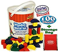 [ホームウェア]Homeware Deluxe Wooden Colored Building Blocks 100 Piece Set with Bucket & Exclusive Storage Bag 100% Real Wood 1296-MTS [並行輸入品]