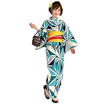 浴衣 レディース セット 緑系のモダン麻の葉 ときめき恋浴衣3点セット 緑