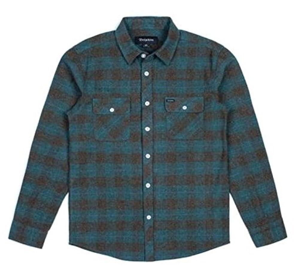 ズーム政権プレートBrixton Bowery L/S Flannel Shirt Ocean?S ネルシャツ 並行輸入品
