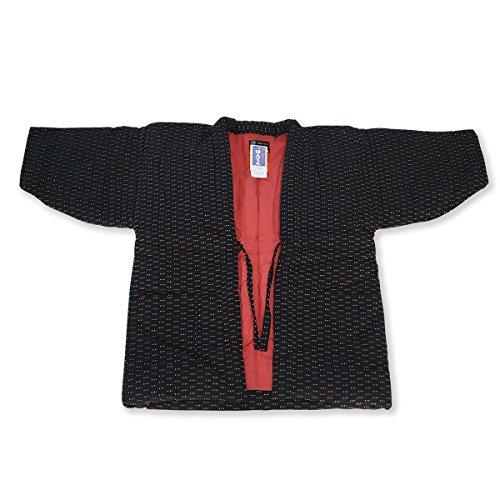 婦人全刺し子刺繍半天 7490黒 久留米手づくり はんてん 半纏 どてら 綿絣
