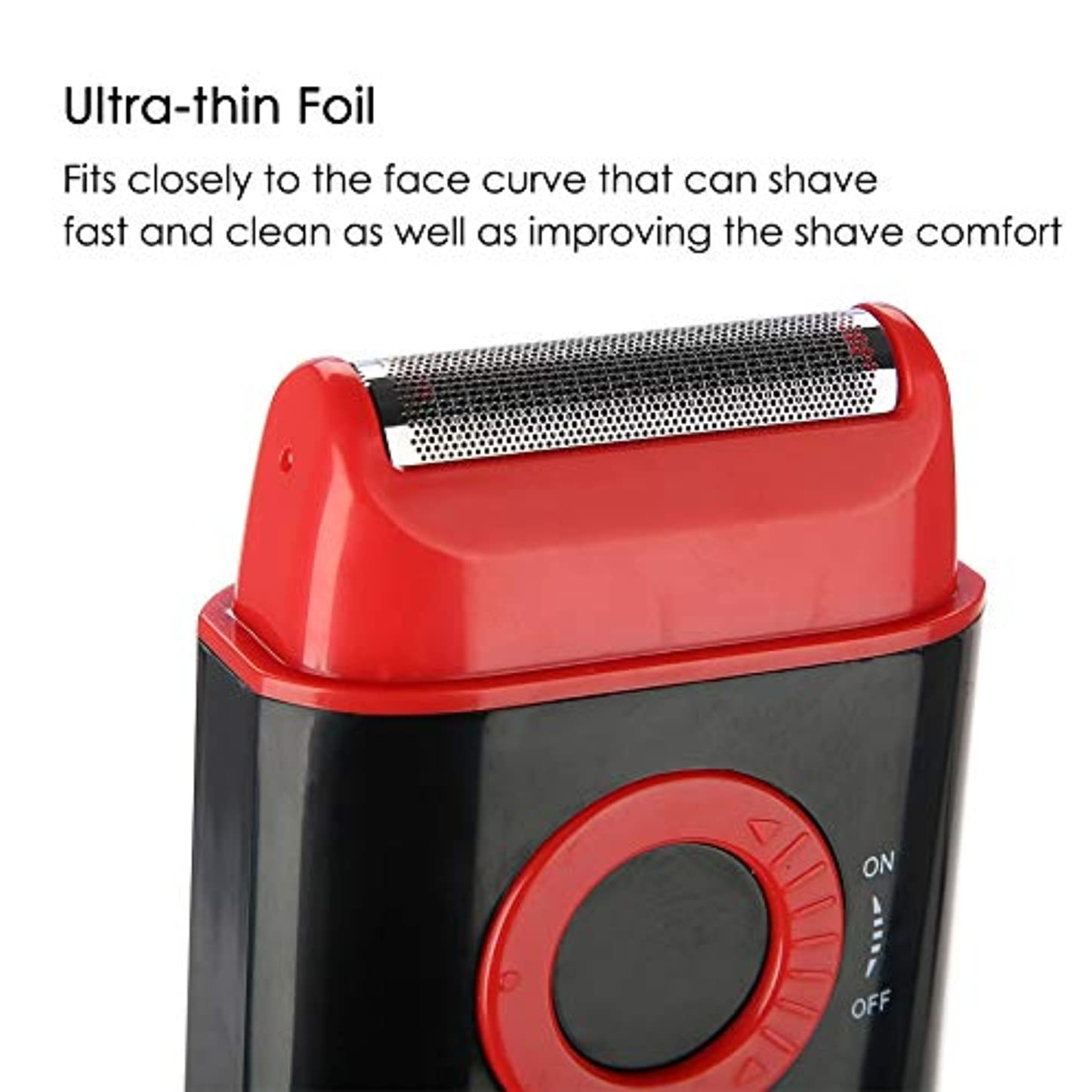 バイソン震えるさせる電気シェーバー 剃刀 男性 超薄型箔ポップアップひげトリマー単3電池のパワーシェービングカミソリ (レッド)