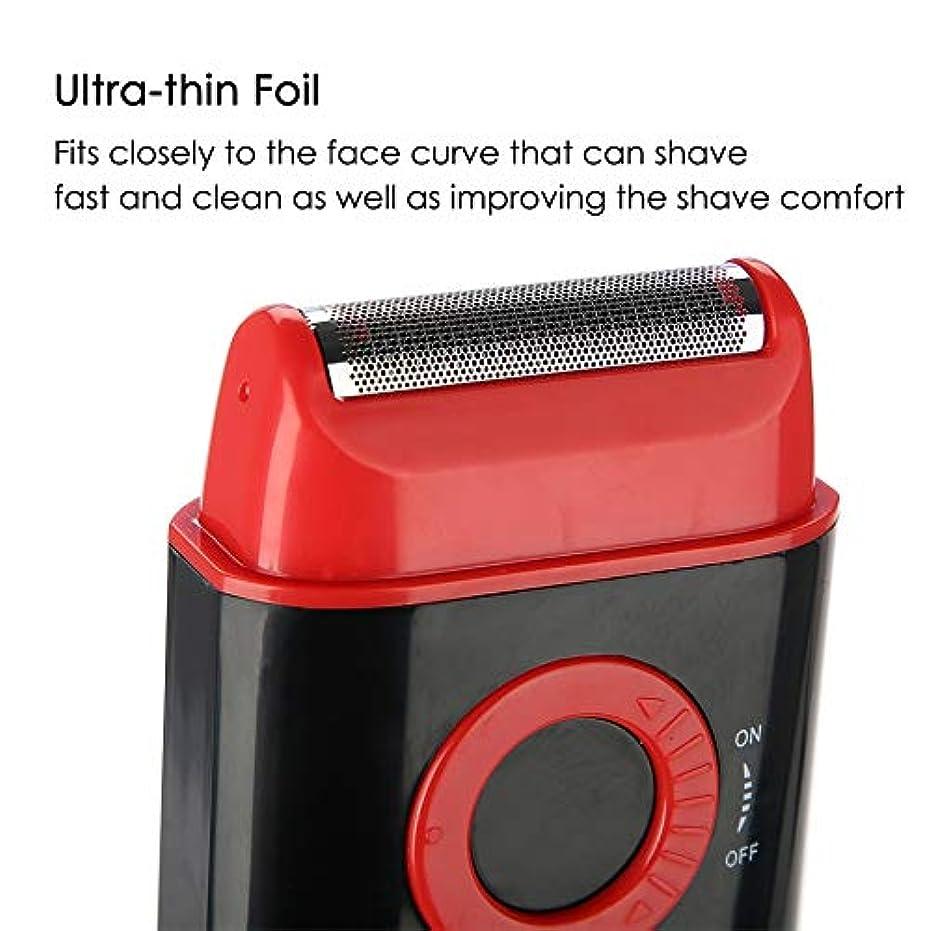 敬意火山スポンジ電気シェーバー 剃刀 男性 超薄型箔ポップアップひげトリマー単3電池のパワーシェービングカミソリ (レッド)