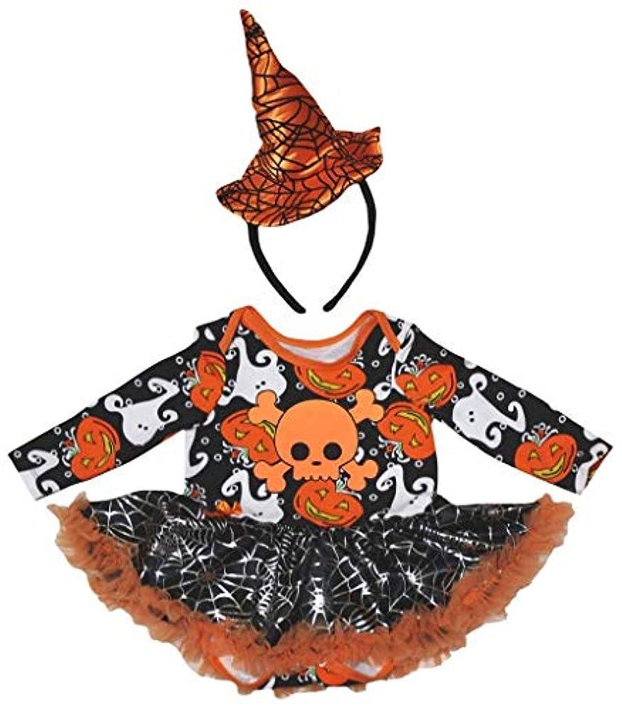 フォローブランク絶えず[キッズコーナー] ハロウィン オレンジ スカル ゴースト カボチャ シルバースカル 長袖 子供ボディスーツ、子供のチュチュ、ベビー服、女の子のワンピースドレス Nb-18m (ブラック, X-Large) [並行輸入品]