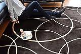 厚さ3倍でさらにふわっと やわらかなめらか感触のモダンなサークル柄フランネル ラグ ModernCircle ベージュ 2畳 185cm×185cm ホットカーペット対応 こたつ敷き モダン 北欧 デザイン アクセントラグ 幾何学