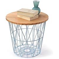 LOWYA (ロウヤ) ワイヤーバスケット バスケット サイドテーブルとしても利用可能 天然木天板 おもちゃ収納 スチール素材 おしゃれ 高さ39cmタイプ ナチュラル/ブルー 新生活