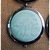 HuaQingPiJu-JP ミニラウンドポータブル菊柄セラミックス鏡サークル工芸装飾化粧品アクセサリー