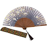 """Amajiji Charming Elegant Modern Woman Handmade Bamboo Silk 8.27"""" (21cm) Folding Pocket Purse Hand Fan, Collapsible Transparent Holding Painted Fan with Silk Pouches/Wrapping. (CZT-06)"""