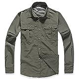 Lanbaosi ミリタリーシャツ メンズ アウトドアウェア コンバーチブル 速乾 シャツ 半袖 長袖 カジュアルシャツ 取り外し可能 ワイシャツ S アーミーグリーン