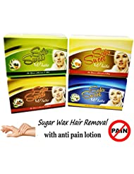 4 Sweet Boxes 400 gm Sugaring Sugar Wax Hair Removal 100% Natural 4 Essence Paste For Bikini, Legs, Arms, Back...