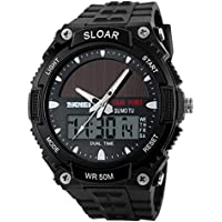 Yiwa Men Stylish Solar-Powered Electronic Watch Waterproof Wristwatch Ornament Gift