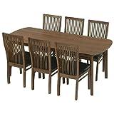 ダイニングテーブル 6人用 テーブル&チェア 7点セット 食卓 椅子 机 長方形 幅180cm 天然木 ブラウン