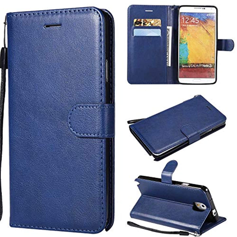 陸軍ライオン直接Galaxy Note 3 ケース手帳型 OMATENTI レザー 革 薄型 手帳型カバー カード入れ スタンド機能 サムスン Galaxy Note 3 おしゃれ 手帳ケース (6-ブルー)