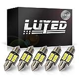 LUYED LED バルブ T10×31mm(S8.5/8.5)両口金タイプ 5個入り 4014SMD 10連 極性フリー キャンセラー内蔵 極高輝度 ホワイト トランクライト ルームランプ マップランプ