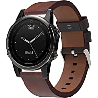 Garmin Fenix 5S Band Replacement Coffee Colored Leather Watch Strap Wristband, FreeDeal