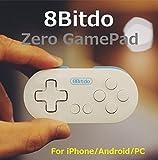 FC30シリーズ - 超小型のコントローラー 「Zero GamePad」(カラー:ホワイト&ブルー) (サイズ約7.3cm x 3.5cm) (Android/iOS/Windows/Mac OS用) レトロゲームコントローラ ワイヤレスブル...