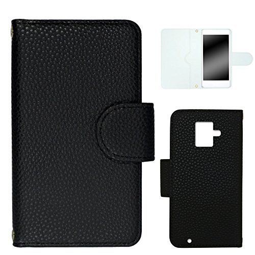 whitenuts らくらくスマートフォン2 F-08E ケース 手帳型 レザー風 05 ブラック カード収納 ストラップホール WN-OD282332-M