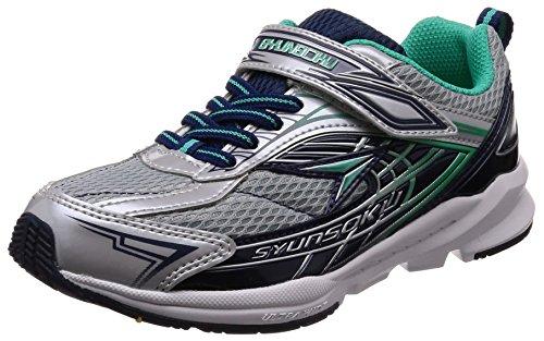 [シュンソク] 運動靴 通学履き 瞬足 幅広 衝撃吸収 高反発 19~24.5cm 3E キッズ 男の子 シルバー 22 cm