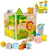 Promise Babe 拼塊 木制拼圖 益智玩具 蒙特索利 造型 幾何識別 顏色識別 圖形認知 木制玩具 寶寶 早期開發 手指訓練 兒童 生日禮物 圣誕禮物