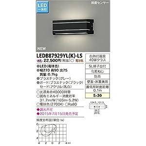 東芝ライテック LED一体形アウトドアブラケット 照度センサー付表札灯 ブラック 270×90