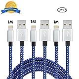 【3本セット/1M】iPhoneケーブル Jayuer ライトニングUSBケーブル 急速充電 USB充電データ転送ケーブル iPhone 7 / 7 Plus / 6s / 6s Plus / 6 / SE / iPad Air / Mini ? ブルーホワイト