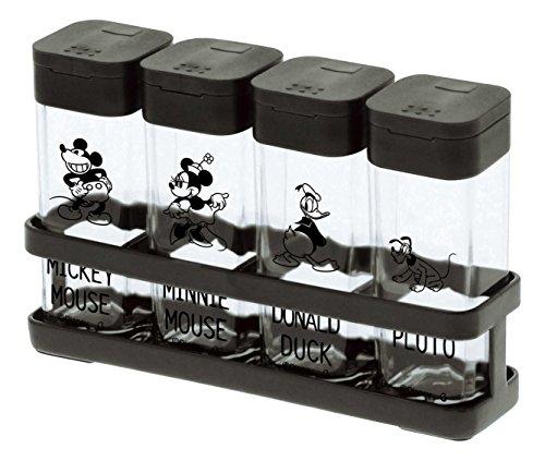 山崎実業 塩 コショウ 調味料入れ スパイスラックボトル&ラック 4個セット ディズニーブラック 90011
