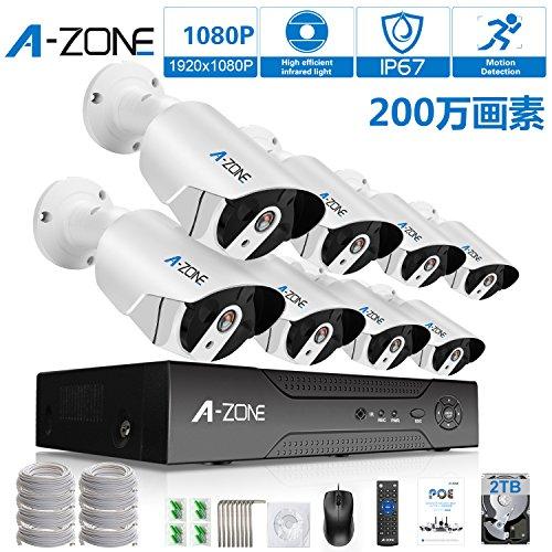 A-ZONE POE給電防犯カメラキット レコーダー 暗視撮...
