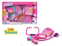 Little Treasures Pink Doctor's Kit pretend play set with equipment toy stethoscope, kidney bowl, tweezers, clipboard, name badge and handy equipment all housed in a convenient carry case